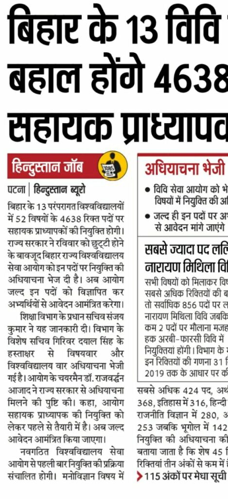 Bihar(BSUSC) Assistant Professor Recruitment 2020