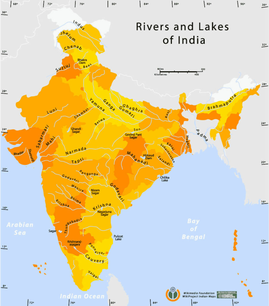 Lakes in India Map